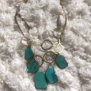 Turquoise statement necklace with gold hardware